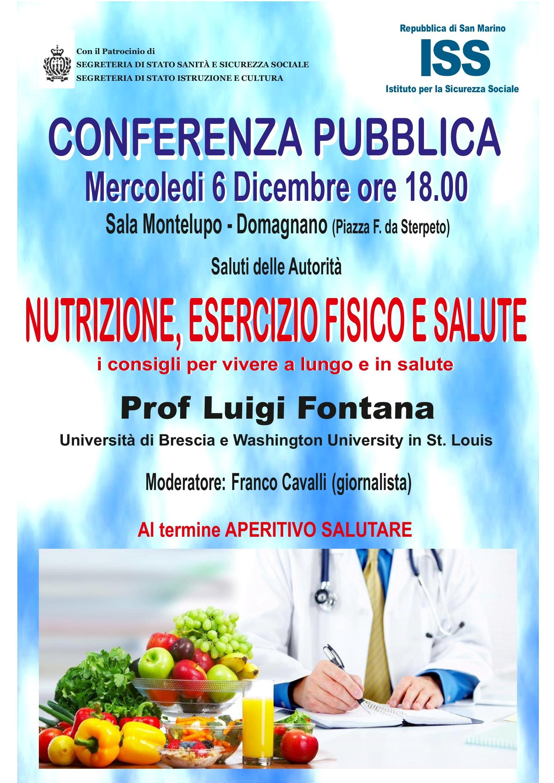 Serata pubblica sulla nutrizione con il professor Luigi Fontana