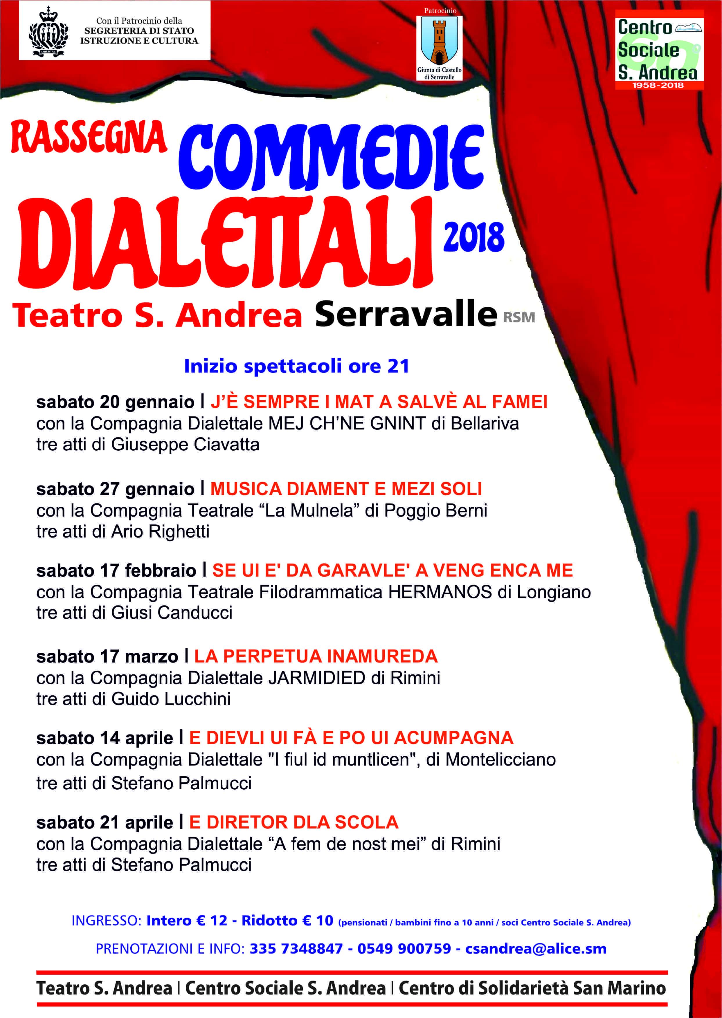 Sei appuntamenti a Serravalle con il teatro dialettale