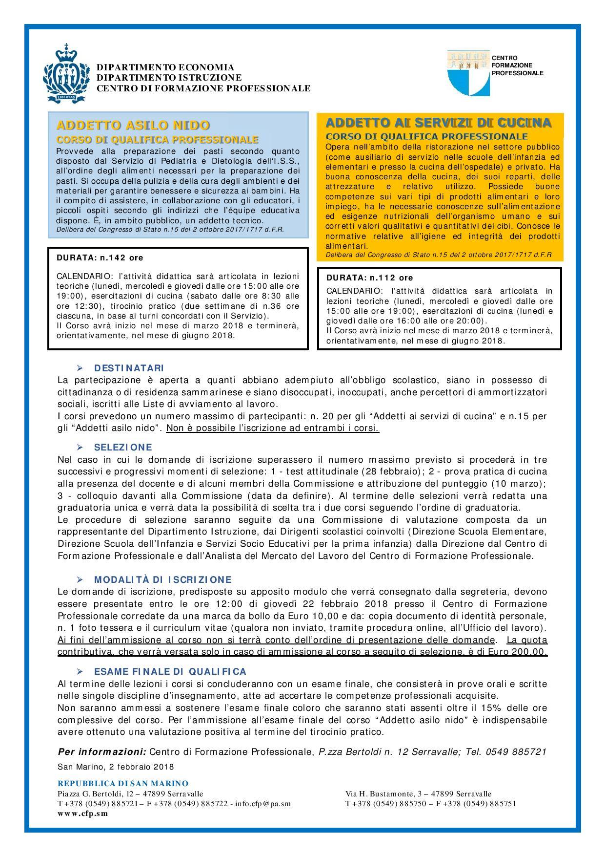 CFP, aperte le iscrizioni per Addetto Asilo Nido e Cucina