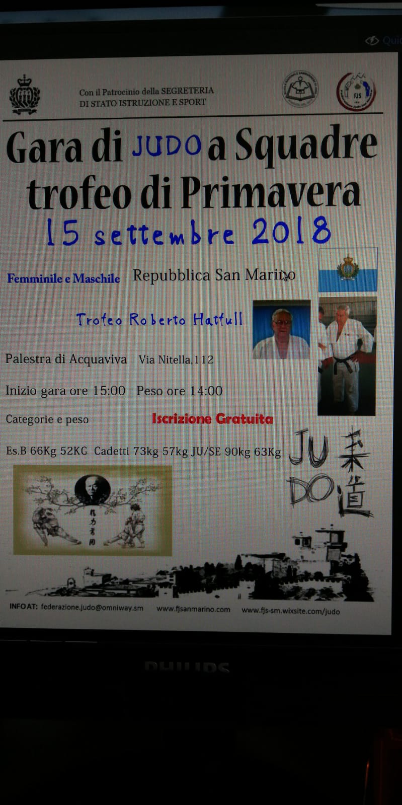 Judo: all'Acquaviva Hall, il Torneo Roberto Hatfull