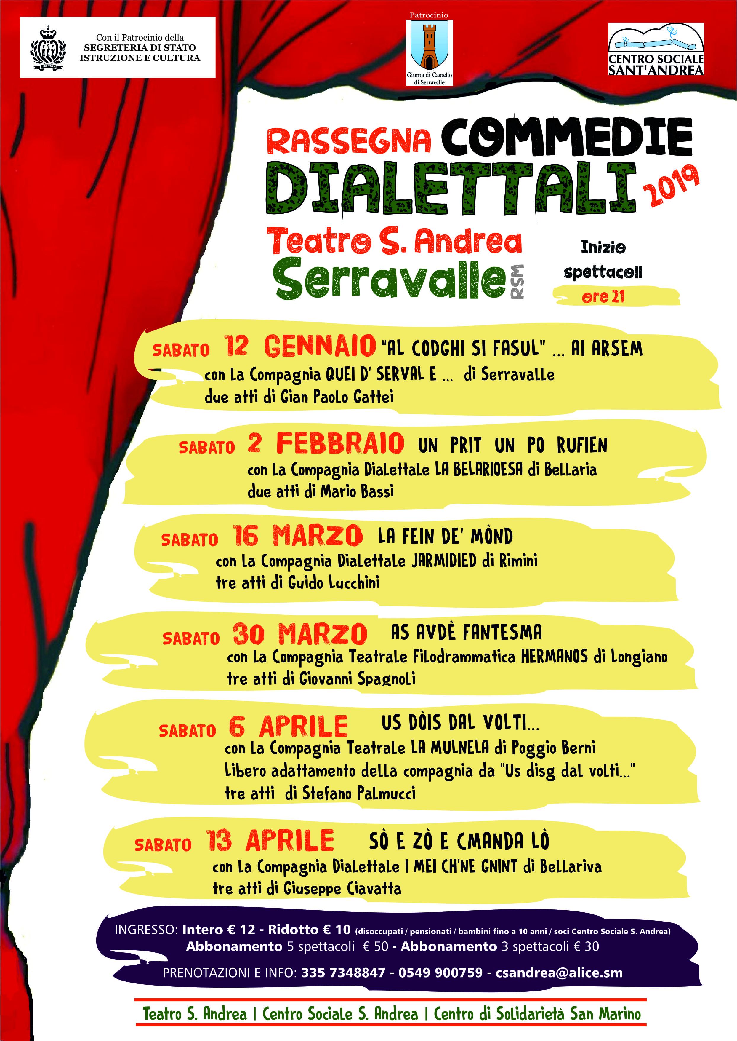 Teatro Sant'Andrea di Serravalle: su il sipario per la commedia dialettale