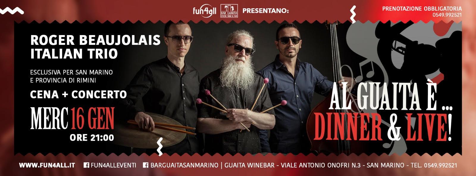 "Roger Beaujolais Italian Trio presenta il nuovo album ""Barba Lunga"""
