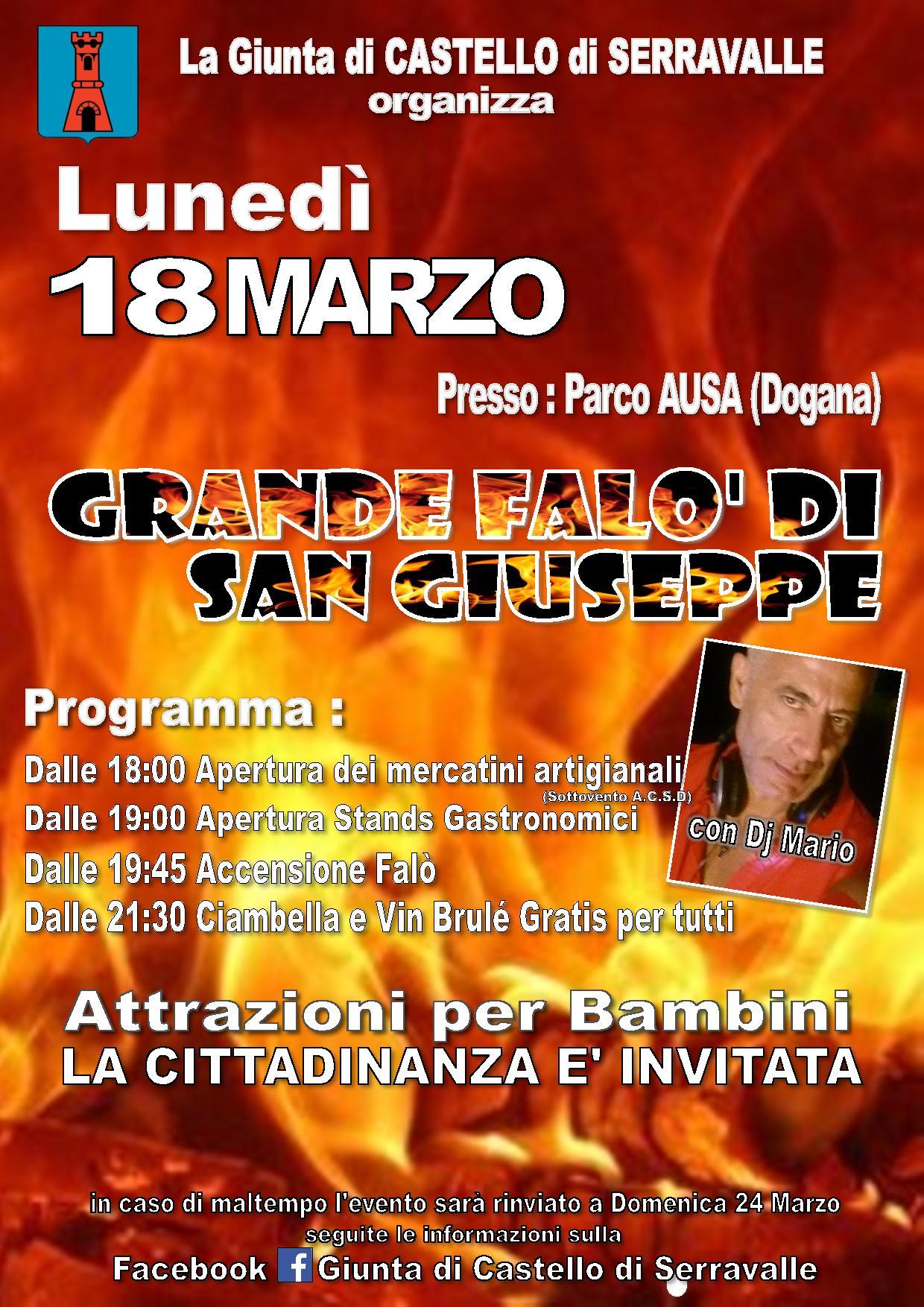 A Serravalle: il GRANDE FALO' DI SAN GIUSEPPE